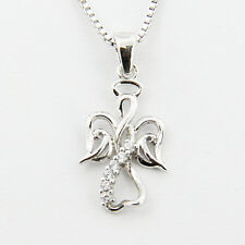 """Sterling Silver 925 Ladys Heart Pendant Womens 18"""" Necklace Chain Infinity Angel"""