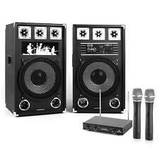 800W DJ PA KARAOKE ANLAGE 2x30CM USB microSD AKTIV BOXEN PAAR 2xFUNKMIKROFON SET