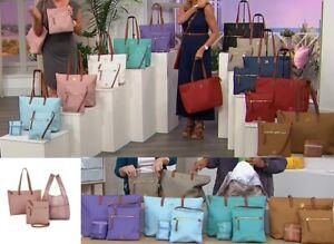 JOY Mangano Luxe Genuine Leather Handbag, Chic Crossbody with Shopper Tote