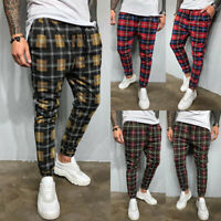 Stylish Men Slim Fit Check Business Formal Pants Casual Office Skinny Trousers