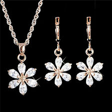 Gold Plated Jewelry Set Rhinestone Flower Pendant Necklace Earrings JewelrySetYA