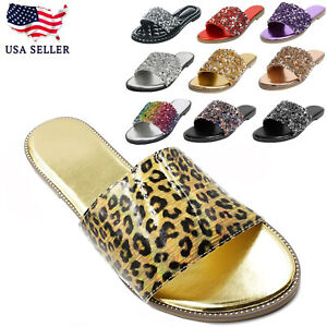New Women's Glitter Bling Rhinestone Slide Flat Heel Sparkle Sandals Shoes Dream