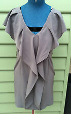 Wayne By WAYNE COOPER Taupe Grey Double V Neck Cocktail Races Dress 10