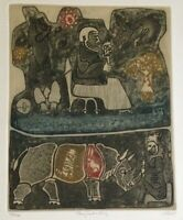 "John Ilhe ""They Seek a King"" 1960 limited edition 106/200 print, color etching"