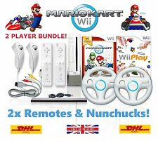Wii Console MARIO KART 2 Player Bundle, 2 Remotes 2 Wheels 10 GAMES + GIFT!