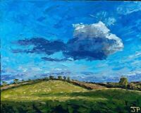 ORIGINAL Landscape Hills Painting - Sheep Rural British Art Original Presale