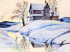 Watercolor Painting Winter Landscape Signed C R Smith Snow Cabin Mid Century