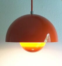 "andTradition Verner Panton VP1 Flowerpot Pendant Light in Orange, 2 of 3 9"" MCM"
