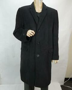 WM. Filenes Sons Co Men's 100% Cashmere Button Long Top Coat Black 43R