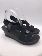Skechers Cali Womens Black Wedge Ankle Slingback Sandals Shoes Size 8 Strappy
