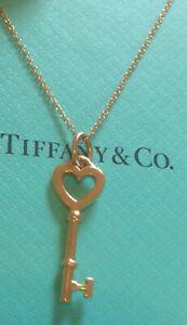 Tiffany & Co 18K Rose Gold Heart Key Pendant Chain Necklace
