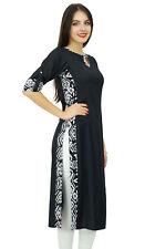 Bimba Women Plain Black Kurta Straight Rayon Kurti Casual Wear Chic Tunic Indian