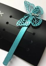 A Metal Matt Turquoise Simple Butterfly Design Barrette Hair Clip