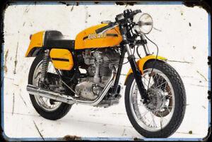 Ducati 450 Desmo A4 Metal Sign Motorbike Vintage Aged