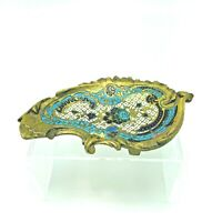 Antique Russian Brass & Enamel Paisley Fountain Pen Tray Trinket Ring Tray Rest