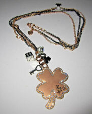 Betsey Johnson RARE LG CLOVER HORSE SHOE DICE KEY LONG NECKLACE