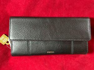 BNWT FOSSIL JORI RFID Black Flap Clutch. Gift Idea RRP £75