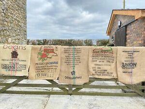10x Used Empty Coffee Hessian Burlap Jute Bags Sacks Garden Planter Smoker Fuel