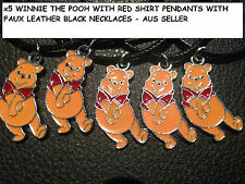 5 X WINNIE THE POOH RED PENDANTS WITH BLACK SKIN NECKLACE CHEAP AUS SELLER 74W