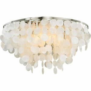 Vaxcel 5 Light Elsa Capiz Shell Satin Nickel Flush Mount Ceiling Lamp Sale C0118