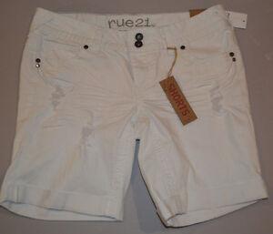 Women's Rue 21 White Relaxed Denim Cuffed Shorts Juniors Sizes 0, 7, 9