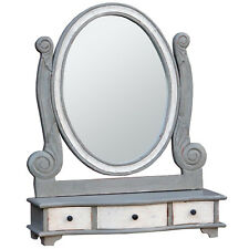 Shabby Chic Grey White Freestanding Wooden Bedroom Drawers Dressing Table Mirror