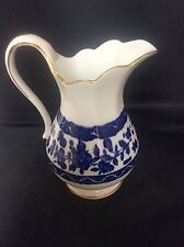 c1910 Antique Royal Doulton Blue & White Transfer Printed Jug Pitcher Gilded 5