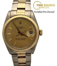 Rolex Oyster Perpetual Date 34mm Auto Champagne Dial 14K Gold & Steel 1500 Watch