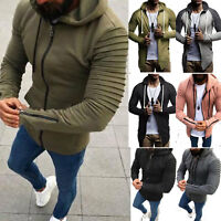 Men's Solid Full Zip Up Hoodie Hooded Zipper Sweatshirt Jacket Coat Joggers Tops