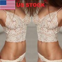 USA Women Lingerie Corset Lace Push Up Vest Top Bra + Pants Underwear Suit //