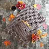 Crochet Handmade Pocket Shawl Fall Colors Latte Brown