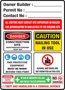 OWNER BUILDER CONSTRUCTION SITE SIGN  --  VARIOUS SIZES SIGN & SUBSTRATE OPTIONS