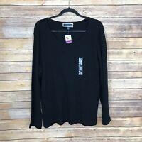 Karen Scott Womens XXL Scoop Neck Long Sleeve Tee Basic Layer Top Solid Black