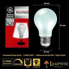 GE 100w 240v Edison Screw ES 27 Mini GLS Dimmable Opal Light Bulb