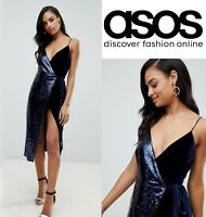 ASOS DESIGN sequin and velvet cami wrap midi dress, Uk 10/eu38/us6