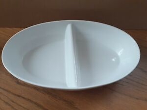 Large White Porcelain Oval Two Section Serving Dish 32cm x 18cm