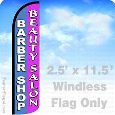 Barber Shop Beauty Salon Windless Swooper Feather Flag 25x115 Banner Sign Pz