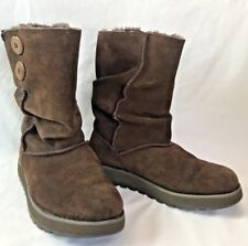 Womens 5 Youth 3.5 Skechers Brown Suede Leather Boots Faux Fur Lined EU 35