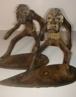 set of two antique- vintage wooden surfer figurines, hand carved, hand made