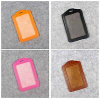 Durable Leather Vertical Photo Name ID badge Holder Free Ship