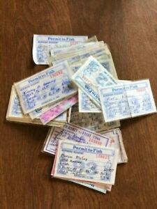 50+ Nebraska Fishing Licenses, Expired, Early 1990s, Vintage, Old