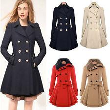 Women Long Trench Coat Double Breasted Parka Jacket Warm Winter Outwear Overcoat