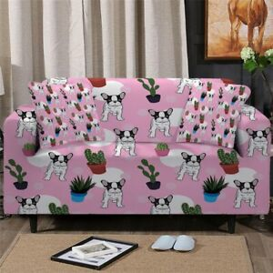 French Bulldog Cactus Sofa Couch Chair Cushion Stretch Cover Slipcover Set Decor