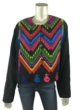 XL Jacket Guatemalan Tapestry Embroidered Black Multi Color Ethnic Coat Handmade