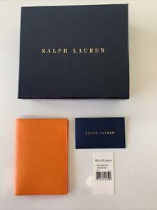 New. Ralph Lauren Purple Label Passport Holder. Leather. Orange Tangerine