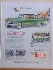 Vintage 1953 magazine ad for Dodge - Action Car for Active Americans, colorful