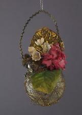 Alter Christbaumschmuck - Blumenampel mit leonischen Drähten um 1900 (# 3255)