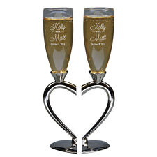 TOASTING FLUTES, Heart Shaped, Engraved, Personalized, Goblets, Champange Glass
