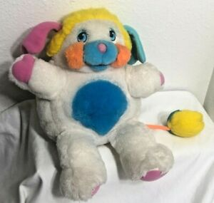 Vintage 1986 Mattel Popples Plush Toy White Pink Blue Puffball Bright CLEAN