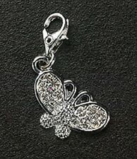 Dangle Charm Butterfly Crystal Silver Plated Lobster Claw For Bracelet Free Ship